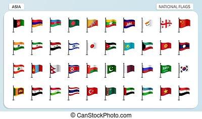 ásia, nacional, bandeiras