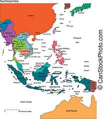 ásia sudeste, com, editable, países, nomes