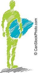 áspero, 3, ilustração, surfista