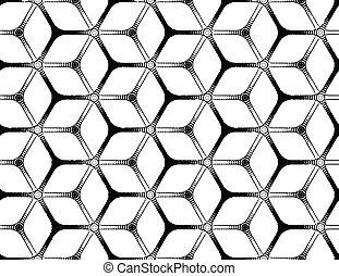 áspero, dibujo, diseñar, futurista, hexagonal, cuadrícula