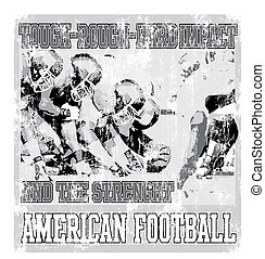 áspero, fútbol, duro, norteamericano, grieta