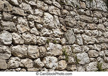 áspero, histórico, parede pedra