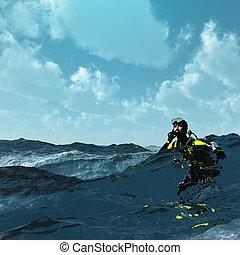 áspero, mar, superficie, buzo