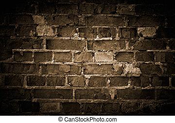 áspero, pared ladrillo, toned.