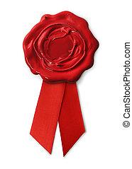 áspero, sello de lacrar, con, cinta roja, aislado, blanco,...