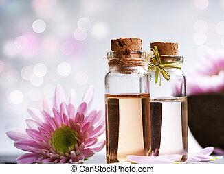 ásványvízforrás, alapvető, oil., aromatherapy