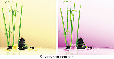 ásványvízforrás, bambusz, virág, background:, csiszol