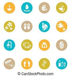 ásványvízforrás, fehér, zen, színezett, ikonok