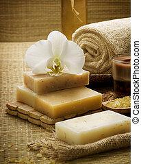 ásványvízforrás, kézi munka, természetes, szappan