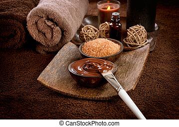 ásványvízforrás, maszk, csokoládé