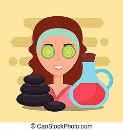 ásványvízforrás, nő, wellness