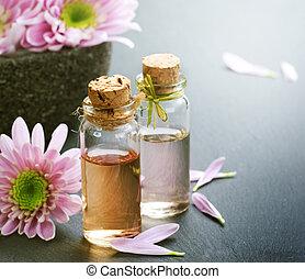 ásványvízforrás, oil., alapvető, aromatherapy