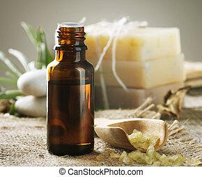 ásványvízforrás, treatment., aromatherapy., lényeg