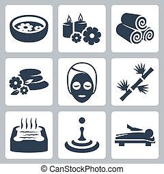 ásványvízforrás, vektor, állhatatos, elszigetelt, ikonok
