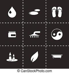 ásványvízforrás, vektor, állhatatos, ikon