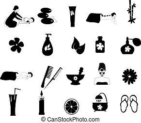 ásványvízforrás, vektor, állhatatos, ikonok