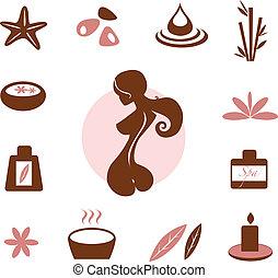 ásványvízforrás, wellness, gyűjtés, ikon