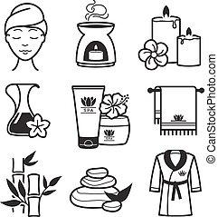 ásványvízforrás, wellness, ikonok