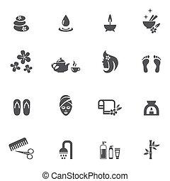 ásványvízforrás, white háttér, ikonok