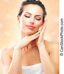 ásványvízforrás, woman., gyönyörű, leány, után, fürdőkád, megható, neki, arc