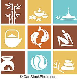 ásványvízforrás, zen, ikonok