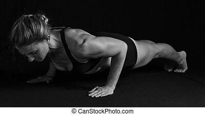 átalakítás, nő, egészséges, alakú, push-up, izmok, művészi, helyzet