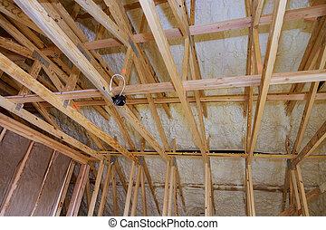 ático, aislamiento, construcción, pared, inacabado, debajo, casa, espuma, techado