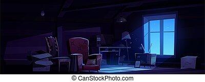 ático, almacenamiento, muebles, viejo, noche, casa