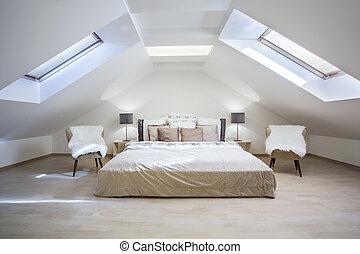ático, apartamento, dormitorio, brillante