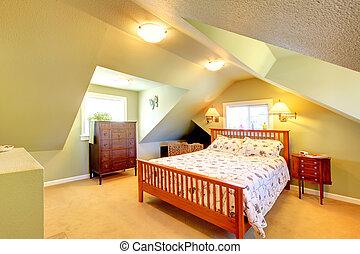 ático, bed., grande, paredes, verde, dormitorio
