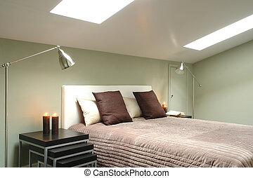 ático, brillante, dormitorio