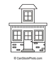 ático, casa, pequeño, silueta, monocromo