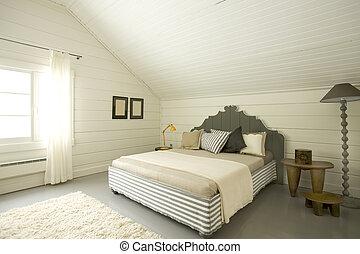 ático, de par en par, dormitorio