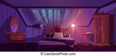 ático, dormitorio, noche, interior, lujo