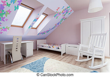 ático, habitación, colorido