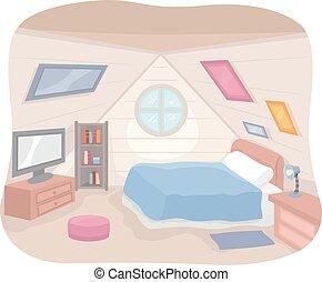 ático, interior, habitación, mobiliario