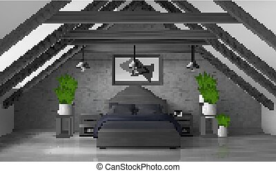 ático, mansard, moderno, dormitorio, interior, hogar, vacío