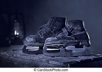 ático, oxidado, viejo, hielo, scates