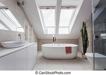 ático, urbano, cuarto de baño, apartamento, -