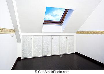 ático, ventana, habitación, techo, claraboya
