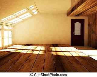ático, ventana, vacío