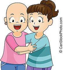 átkarolás, alopecia, lány, ábra, gyerekek, barátok