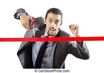 átkelés, üzletember, egyenes, befejez