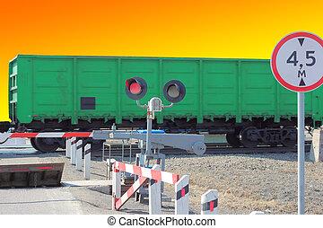 átkelés, autók, vasút, akadály