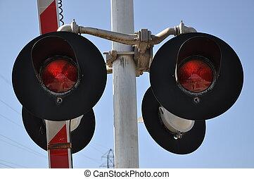 átkelés, közelkép, vasút, aláír