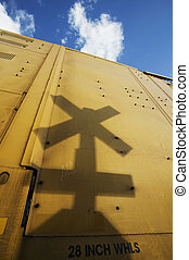 átkelés, vasút, árnyék, aláír