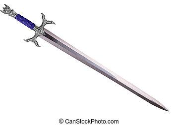 átló, elszigetelt, hajlamos, háttér., kard, fehér