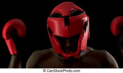 átlyukasztás, szívós, kesztyű, bokszoló, piros