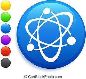 átomo, ícone, ligado, redondo, internet, botão