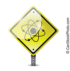 átomo, desenho, ilustração, sinal